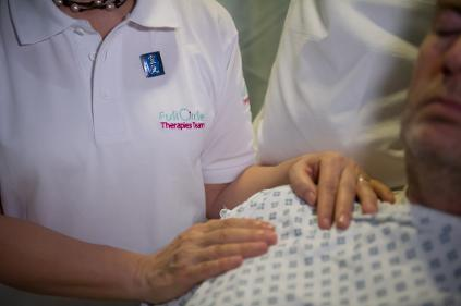 Treating patients with Reiki at St George's Hospital, London